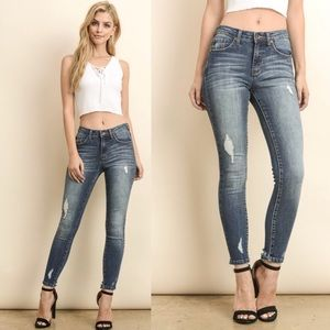 JUST IN + AUBREE distressed skinny jeans
